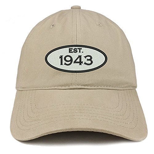 Trendy Apparel Shop Established 1943 Embroidered 75th Birthday Gift Soft Crown Cotton Cap - Khaki by Trendy Apparel Shop