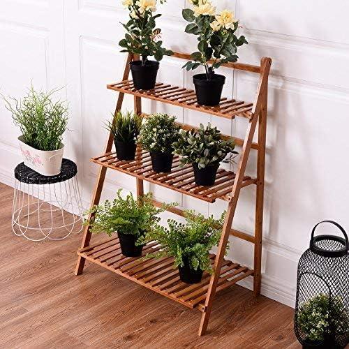Estantería CASART plegable de bambú para macetas. Soporte para exposición de plantas, estante de jardín, estantería en escalera para exteriores e interiores.: Amazon.es: Jardín