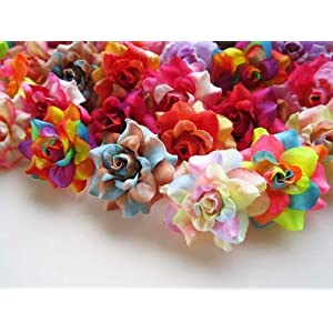 "(100) Assorted Silk Roses Flower Head - 1.75"" - Artificial Flowers Heads Fabric Floral Supplies Wholesale Lot for Wedding Flowers Accessories Make Bridal Hair Clips Headbands Dress 2"
