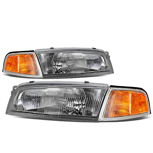 For Mitsubishi Mirage 4-Dr Sedan Pair of Chrome Housing Amber Corner Headlights Lamp ()