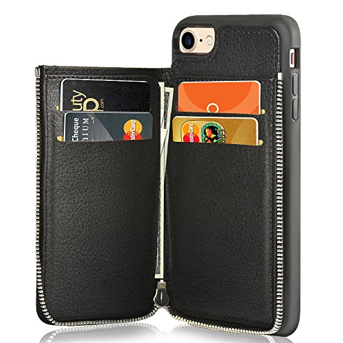 (LAMEEKU iPhone 7 Wallet Case/iPhone 8 Case Wallet Shockproof Leather Credit Card Slot Holder Cover with Zipper Wallet, Protective for Apple iPhone 7 (2016) / iPhone 8 (2017) 4.7 inch - Black)
