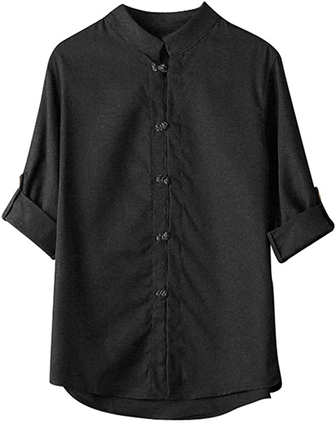 Men Classic Chinese Style Kung Fu Shirt Tops Tang Suit 3//4 Sleeve linen Blouse L