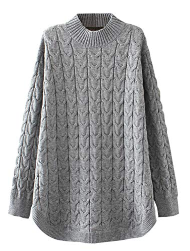 - Minibee Women's Long Sleeve Sweater Mock Turtleneck Pullover Tops Ribbed Cable Knit Jumper Gray M