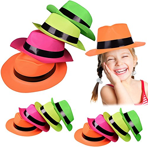 FUN LITTLE TOYS Neon Plastic Gangster Party Hats-24Pcs for Kids and Adults Glow Party Supplies, Photo Booths, Christmas Party Favors, Themed Parties