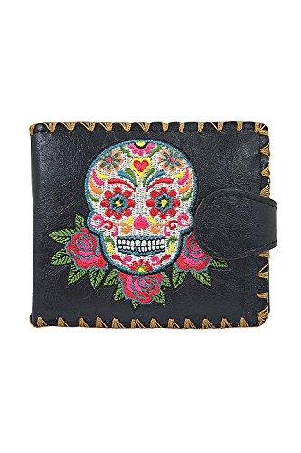 Lavishy Rose Sugar Skull Day of the Dead Embroidered Medium Wallet (Black)