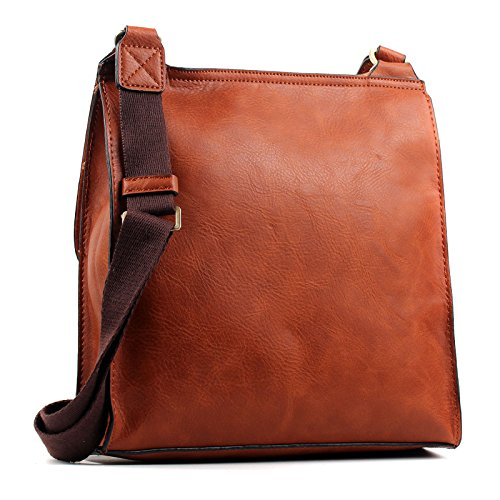 Bag Shoulder Body Large Aossta Brown Messenger Turnlock Cross Twist Leather Bag Medium Lock Faux U0P7gwqF