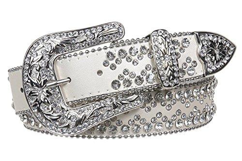 White Metallic Rhinestone Buckle (MONIQUE Women Western Rhinestone Studded Metallic Leather Snap On 1.5'' Belt,White M/L - 38)