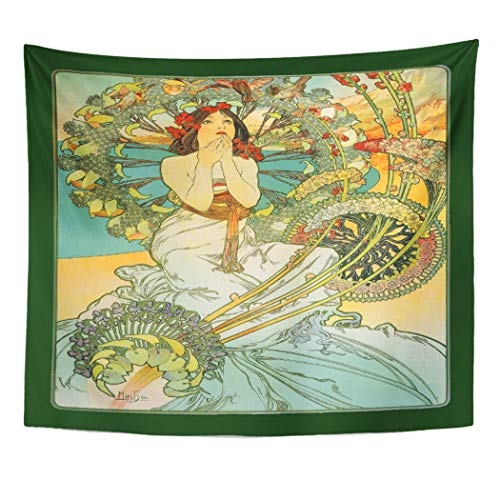 Semtomn Tapestry Artwork Wall Hanging Fine Mucha Nouveau Monte French Artistic Birds Flowers Vintage 50x60 Inches Tapestries Mattress Tablecloth Curtain Home Decor Print