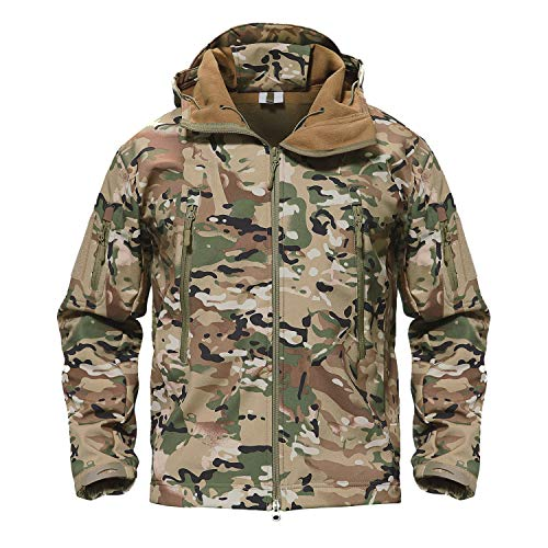TACVASEN Mens Outdoor Hunting Hiking Camping Climbing Tactical Jacket Coat CP,US -