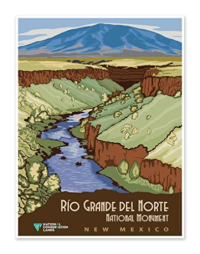 """Rio Grande Del Norte National Monument New Mexico - US National Conservation Land Art Print Poster - measures 18"""" x 24"""" (458mm x 610mm wide)"""
