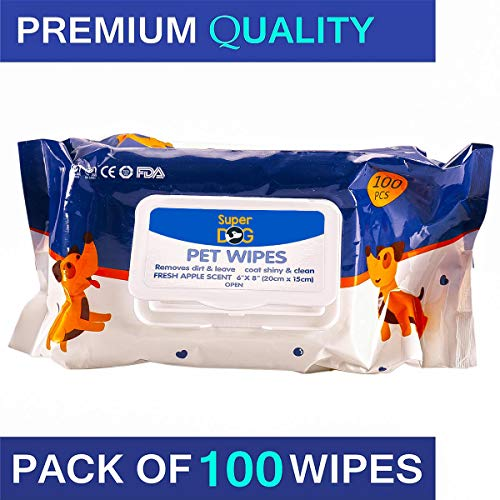 """Super Dog Dog Wipes for Dogs, Cats, Puppies & for All Type of Pets -Fresh Apple Scent 6""""x 8"""" - Pack of 100 Wipes…"""