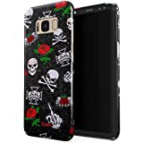 Glitbit Embroidered Red Rose Skulls Floral Patches Rockstar Skeleton Biker Gangsta Girl Gangster Bitch Badass Thin Design Durable Hard Shell Plastic Protective Case For Samsung Galaxy S8 Plus