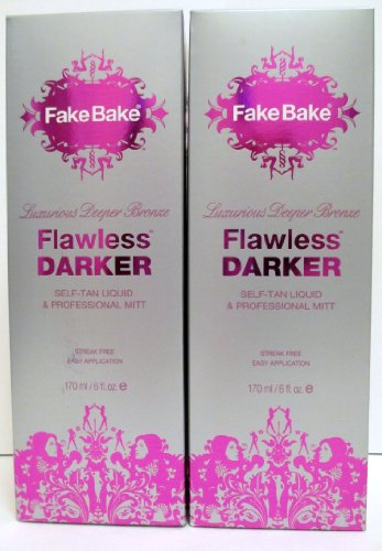 Fake Bake Flawless Darker   Luxurious Deeper Bronze   Self Tan Liquid   Professional Mitt   6 Oz   Set Of 2