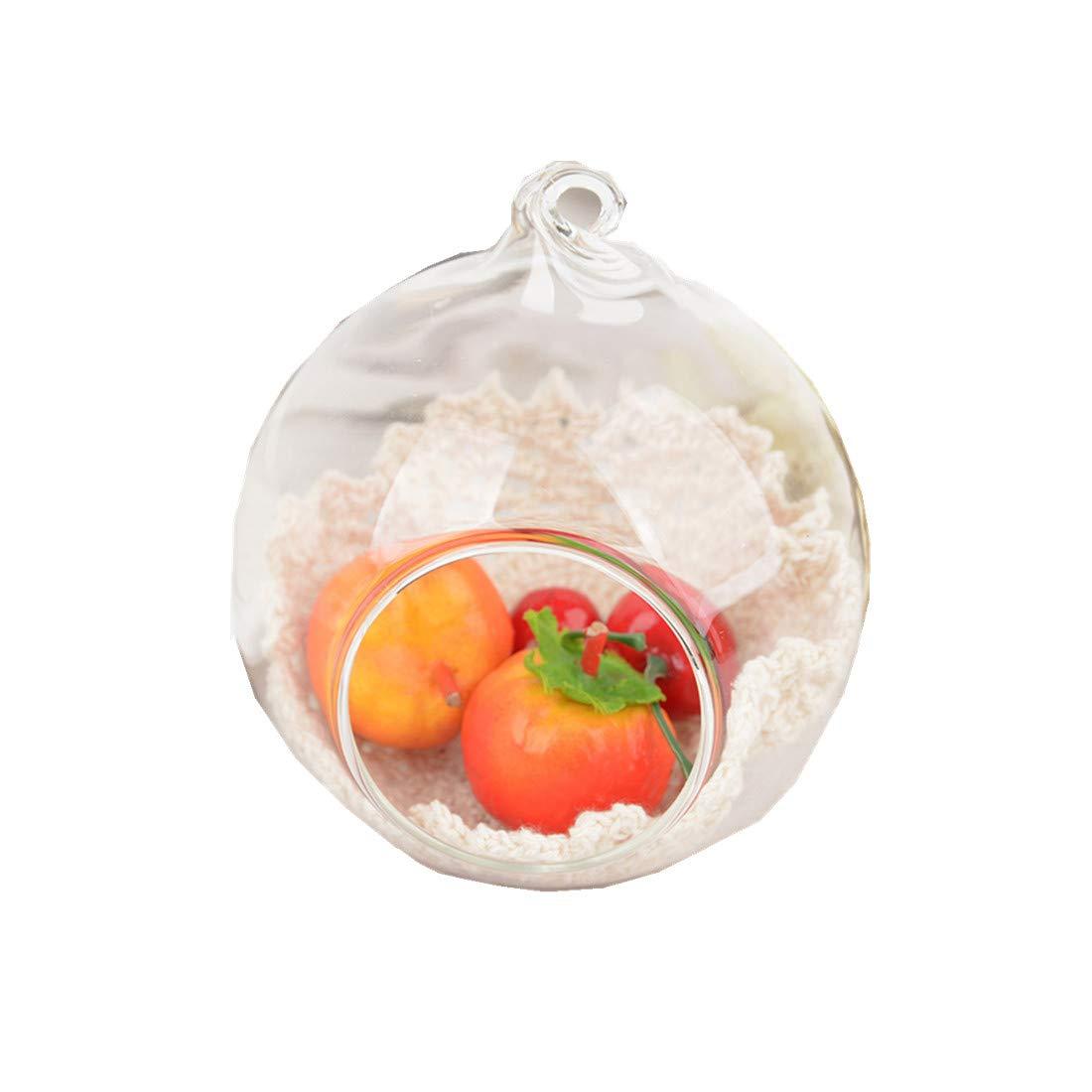 JPOQW Crystal Glass Candlestick Vase Bracket Hanging Candle Holder Home Wedding Party Dinner Decor (Clear, 8cm)
