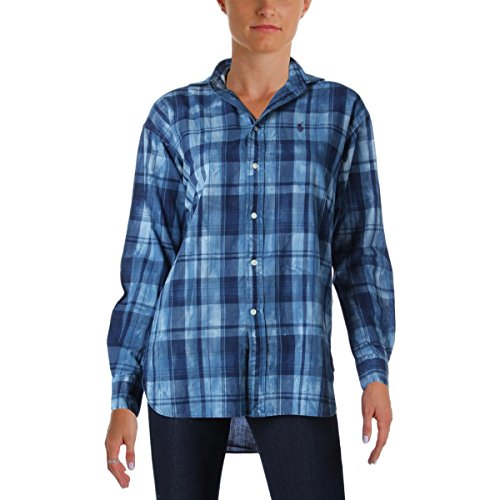 Polo Ralph Lauren Womens Boyfriend-Fit Madras Button-Down Top Blue 2