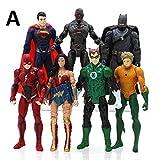 PAPWELL Set 6 - 7 DC Action Figures 7 inch Hot Toys Justice League Figure Multiverse Comics Toy Superman Batman Wonder Woman Flash Green Lantern Aquaman Cyborg Collectibles for Kids (Set A (7 pcs))