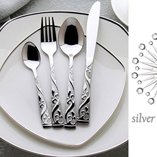Flatware Set, Yokon 24K Silver-Plated Silverware Set 18/10 Stainless Steel Flatware Set Silver Flatware Cutlery Set Forks Spoons Knives set,Silver