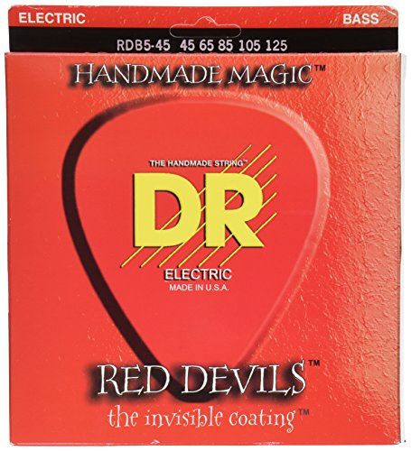 Red 5 String (DR Strings Red Devils - Extra-Life Red Coated 5 String Bass)