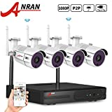 ANRAN 4CH 1080P HD Wireless IP Security Camera System with 4pcs 2.0 Megapixel WIFI Waterproof Outdoor 65ft Night Vision Bullet CCTV Cameras NO Hard Drive Pre-installed