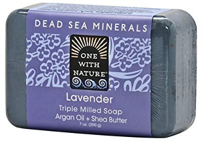 DEAD SEA SALT Lavender Mineral SOAP - Shea Butter, Argan Oil, Magnesium, Sulfur. All Skin Types, Problem Skin. Acne Treatment, Eczema, Psoriasis, Therapeutic, Natural Lavender Scent, 6/7 oz Bars