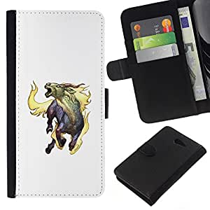 Be-Star la tarjeta de Crédito Slots PU Funda de cuero Monedero caso cubierta de piel Sony Xperia M2 ( Goat Mythical Creature Fire Horns Unicorn Art )
