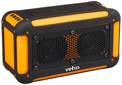 Veho VXS-001-ORG Vecto Water Resistant Wireless Speaker with Integrated 6000mAh Phone/Tablet Charger with Carry pouch/Carabineer/4GB Memory, Sports Orange by Veho