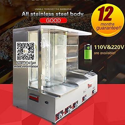 Yoli 110 V/220 V Gas doner kebab máquina – Shawarma parrilla gyros vertical automática (de carne 5 quemadores de gas): Amazon.es: Jardín