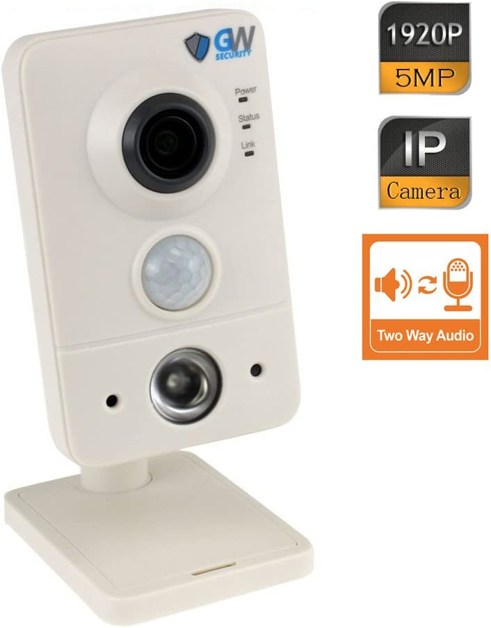 GW Security 5-Megapixel 2592×1920 IP Indoor 1920P WiFi Wireless Cube Camera Built-In Microphone and Speaker, 2.8mm Wide Angle, Two Way Audio Night Vision Audio Recording, Up to 128GB SD