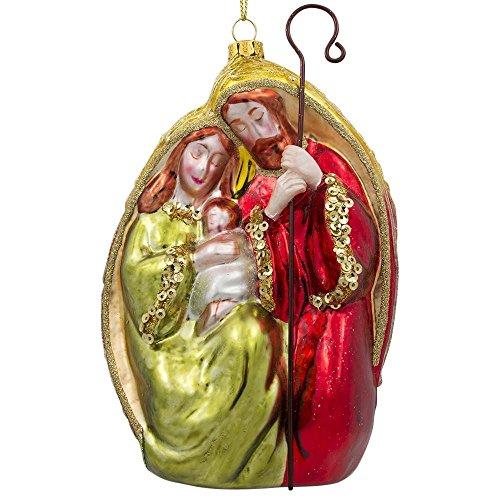 5.5'' Nativity Scene Blown Glass Nativity Christmas Ornament by BestPysanky