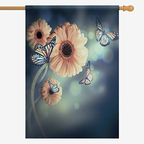 InterestPrint Floral Yellow Daisy and Butterfly House Flag H