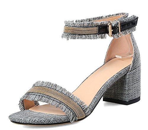 Aisun Women's Classic Buckled Mid Chunky Heels Sandals Gray