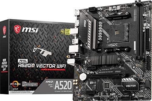 MSI MAG A520M Vector WiFi Gaming Motherboard (AMD AM4, DDR4, PCIe 4.0, SATA 6Gb/s, Dual M.2, USB 3.2 Gen 1, HDMI/DP, WiFi 6, Micro-ATX)