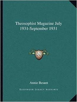 Book Theosophist Magazine July 1931-September 1931