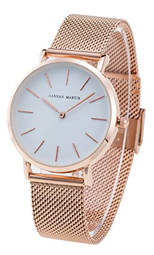 Women's Rose Gold Watches Fashion Stainless Steel Mesh Band Wrist Watch Simple Analog Quartz White Dial Watch, with Adjust tool -