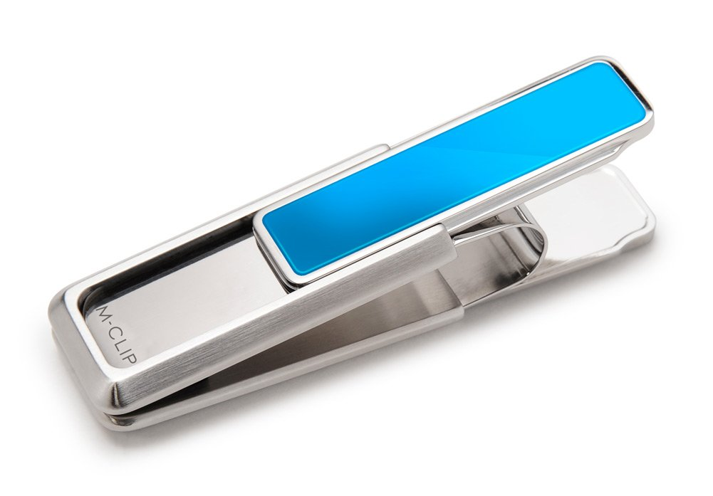 M-Clip Stainless Steel Money Clip with Blue PVD Accent