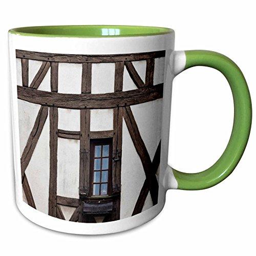 - 3dRose Danita Delimont - Walter Bibikow - Buildings - France, Centre, Eure et Loir, Chartres, house detail, Rue des Ecuyers. - 15oz Two-Tone Green Mug (mug_189330_12)