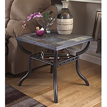 this item ashley furniture signature design antigo living room end table slated top with metal bottom black