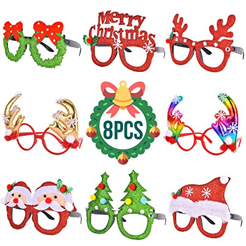 RALMALL 8 PCS Christmas Glasses - Christmas Accessories Party Favors Costume Eyeglasses Frame for Happy New Year Celebration, ONE SIZE FIT for Kids and Adults -