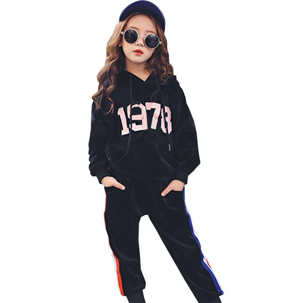 M&A Girls Casual Tracksuit Velvet Hoodie + Pants Clothing Set by M&A (Image #1)