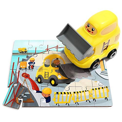 TOP BRIGHT Excavator Toy - Toddlers Car Toys for 3 Year Old Boy Girl Gifts - STEM Toy Educational Learning with 24 Pieces Wooden Puzzles in A Construction Vehicles, Construction Trucks ...
