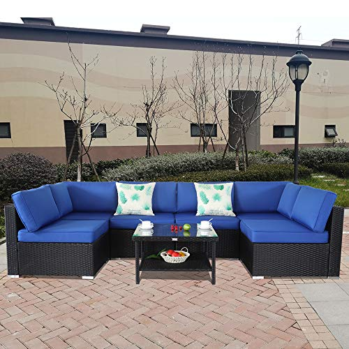 Patio Furniture Black Rattan Sofa Wicker Sectional Couch Set Outside Conversation Garden Furniture Royal Blue Cushion 7pcs