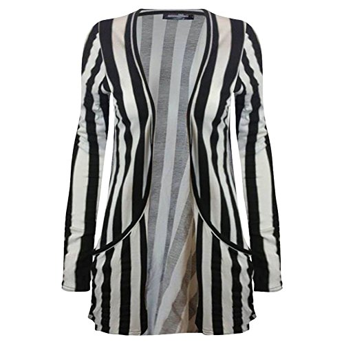 Vertical Print Femme Gilet Janisramone taille Stripe Cardigan unique Longues Manches wFfSAa