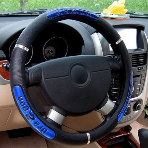 Calcifer@38cm/15'' Hot Sell Dragon Design Leather Anti-catch Holder Protector Auto Car Steering Wheel Cover (Blue)