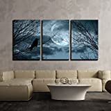 "wall26 - 3 Piece Canvas Wall Art - Halloween Background with Spooky Forest and Full Moon - Modern Home Decor Stretched and Framed Ready to Hang - 16""x24""x3 Panels"