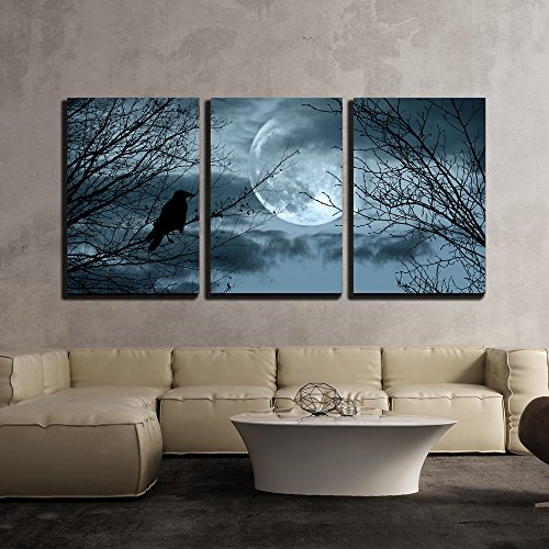 wall26 - 3 Piece Canvas Wall Art - Halloween Background with Spooky Forest and Full Moon - Modern Home Decor Stretched and Framed Ready to Hang - 24