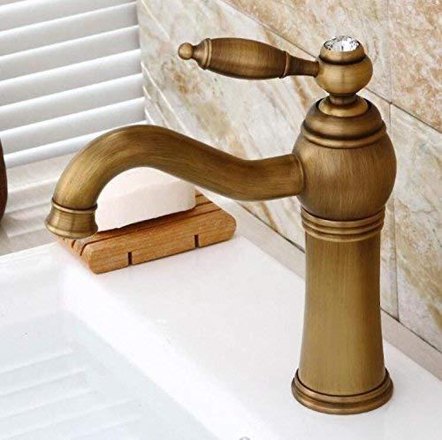 JingJingnet アンティーク仕上げ浴室洗面台蛇口シングルハンドル浴室のシンクミキサー蛇口クレーンタップアンティーク真鍮ホット&コールドウォーターXT953 (Color : A) B07QYLR5QG A