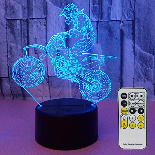 Aidool Night Lights for Kids Motocross Lamp 3D Night Light Bedside Lamp 7 Colors Changing with Remote Control Best Birthday Gifts for Boys Girls Kids Baby