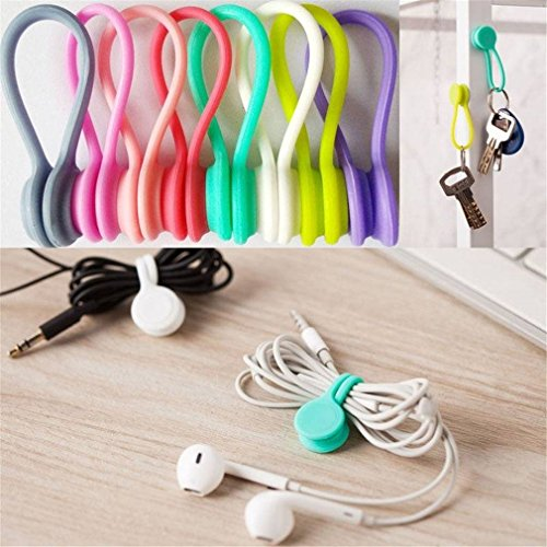 Magnetic Cable Clips,6 Pack Multipurpose Magnetic Cable Organizer, Magnetic Cord Winder Wrap for Headphones/Date USB Cable,Soft Silicone of Headsey Cables,Bookmarks,Keychain.Random Color ()