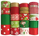 Duoqu Christmas Ribbon 20 Yards Mixed Style/Size ( 20X1yd ) for Holiday Hair Bows Gift Wrapping