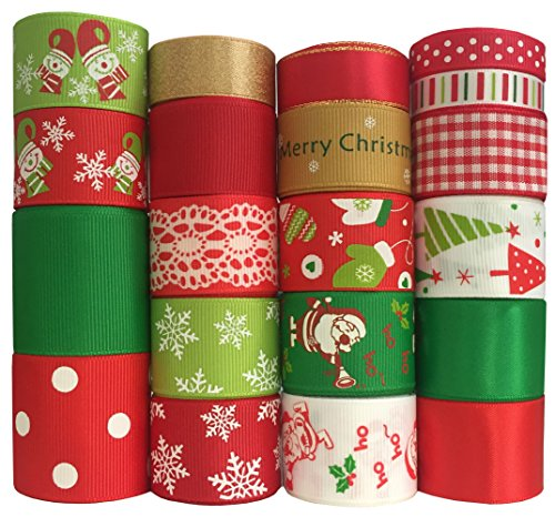 Duoqu Christmas Ribbon 20 Yards Mixed Style/Size ( 20X1yd ) for Holiday Hair Bows Gift Wrapping by DUOQU